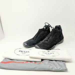 Vintage Prada High Top  Suede Drawstring Sneakers
